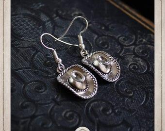 COWBOY hats earrings silver BOA054