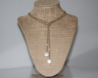 Flat Pearl Wrap Necklace