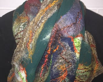 Handcrafted green silk nuno felted scarf