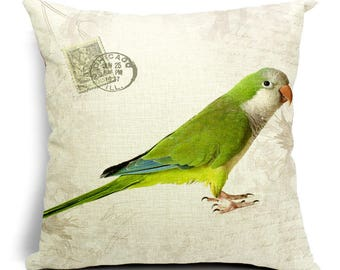 Birdie Portrait Decorative Pillow Cover - Quaker Parrot