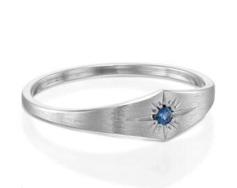 14k white gold ring, White gold ring, White gold wedding ring, Blue sapphire ring, Blue sapphire engagement ring, 14k white gold, 14k ring