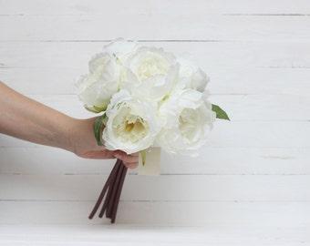 White peony Peony bouquet Artificial peony Fake flowers Flower heads Fake bouquet Artificial flower Fake peony- item 8050