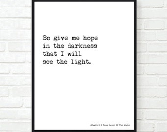 Mumford and Sons Lyrics Wall Print Unframed A4/A3 I Will Wait, Believe, Lover Of The Light, Where Are You Now, Awake My Soul or Personalised
