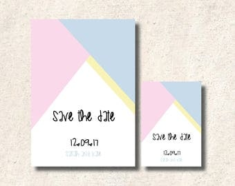 Pastel Geometric Triangle (Pink, Blue, Yellow) Save the Date Wedding Card A5 or A6 With Envelopes