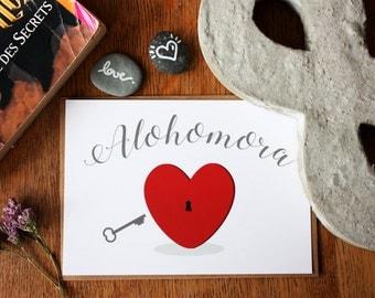 "Card A6, ""Alohomora"", heart, Valentine, typography, Harry Potter"