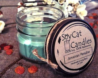 SoyCat Candles 4 oz Jamaican Paradise (Coconut & melon scented/100% Soy Wax/Homemade/Rustic Style)