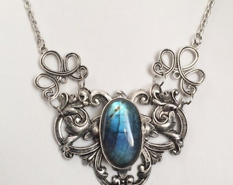 Blue fire labradorite necklace SALE