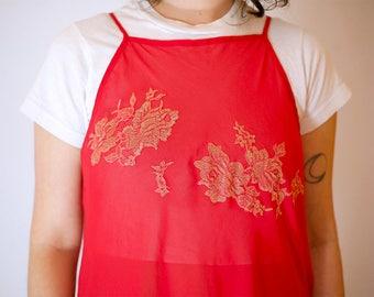 1990s Red & Gold Slip Dress // Vintage Victoria's Secret Red Sheer Dress