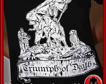 "T-shirt Male/Female ""TRIUMPH OF DEATH"" high quality 100% cotton serignafica Print extra fit"