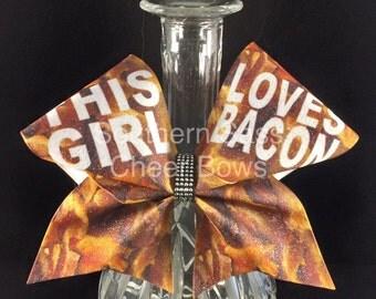This Girl Loves Bacon glitter Cheer Bow