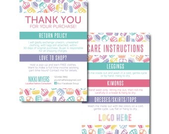 crown Thank You Card, Care Card, Care Instructions, Return Policy size 4x6- Approved Fonts and Colors- Digital File