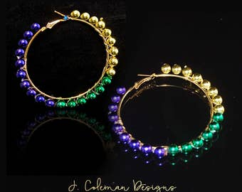 Mardi Gras Bead Hoop Earrings