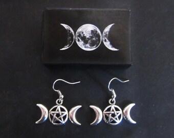 Triple Moon Goddess Earrings - 3 moon wicca - into handmade box
