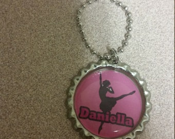 ballet ballerina  bottlecap necklace personalized custom with your child name