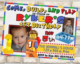 Lego birthday party invitation theme for first second or third birthday lego movie invitations