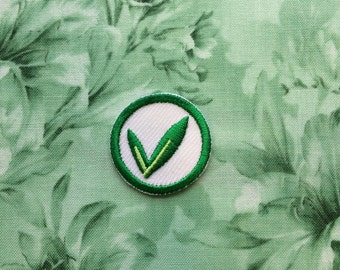 Iron on embroidery patch - Vegan Vegetarian Plant Based