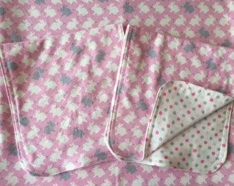 Bunnies Reversible Baby Blanket & Burp Cloth Set
