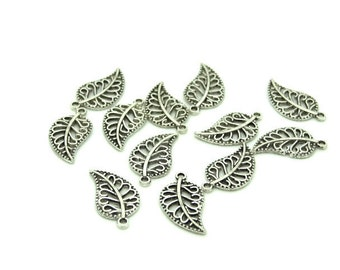 6 leaf openwork silver charms