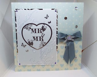 Mr & Mr Civil Partnership/Ceremony Card - congratulations luxury personalised unique quality special bespoke UK