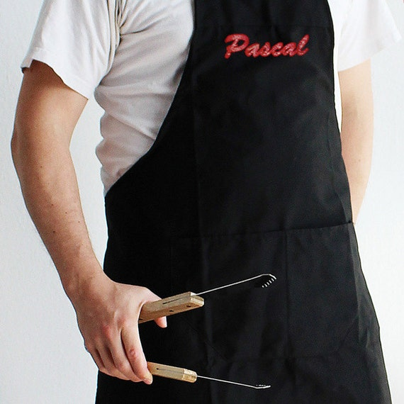 Kitchen Apron with Pocket and Embroidery - Personalised with the Name of Your Choice - Gifts for Men