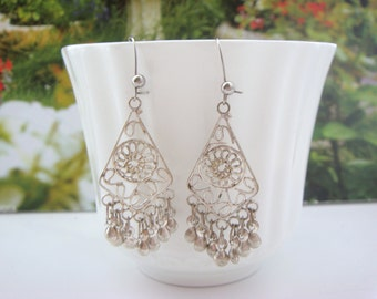 Silver tone Boho-Ethnic Style Dangle Drop Earrings
