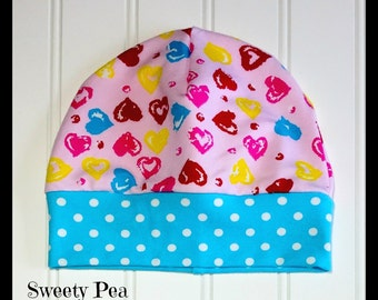 Baby Hat, Baby Beanie, Toddler Hat, Toddler Beanie, Baby Girl Heart Hat, Baby Girl Heart Beanie, Baby Girl