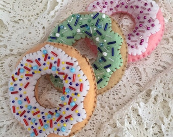 Fun felt beaded iced donuts. Ornament /decor trio set of 3