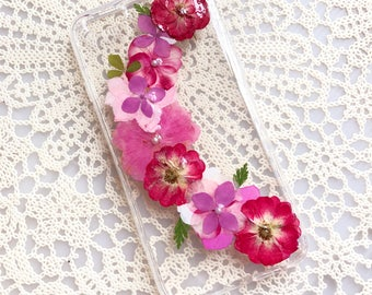 Dried Pressed Flowers Case, iPhone 7 plus case, iPhone 7 Case, iPhone 6 Case, Samsung Galaxy S8 Case Clear Phone Case Red Flowers Floral 011