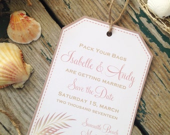 Destination Wedding Save the Dates, Rose Gold- Luggage tag style