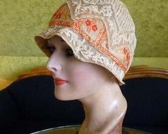 Café au Lait Cloche Hat, antique hat, flapper hat, ca. 1927