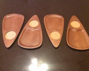 Vintage set of 4 Sere Wood Cork Coasters/Snack Trays