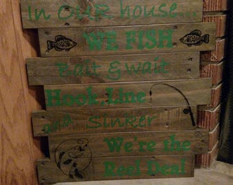 Handpainted Pallet Fishing Sign