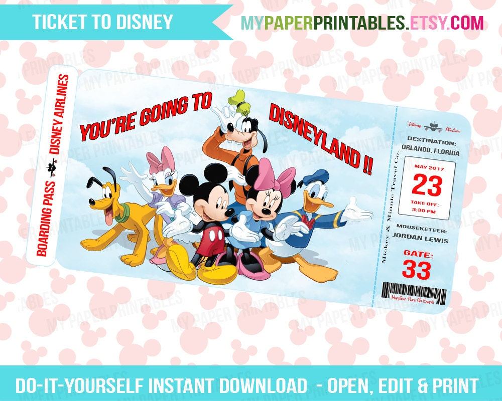 This is a graphic of Gorgeous Free Printable Pretend Disney Tickets