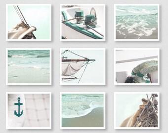 Sail Away - fine art print set, set of 9 prints, nautical wall decor, sea photography, mint green decor, coastal decor, beach house decor