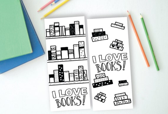 I love Books, Set of 2 Coloring Bookmarks, Instant Download, Printable,