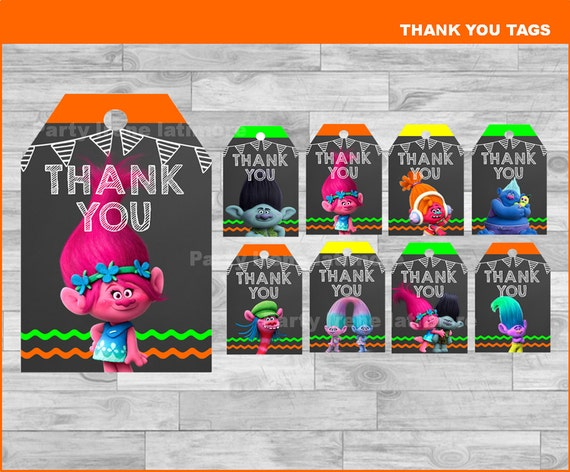 Printable Trolls Thank you Tags
