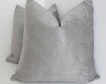 Silver Tomiko Velvet Pillow Covers- Silver Pillow Cover-Silver Velvet Pillow- Decorative Pillows- Silver Pillows - Accent Pillows