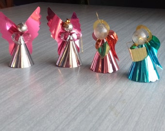 Vintage Foil Angels and Choir Christmas Decorations