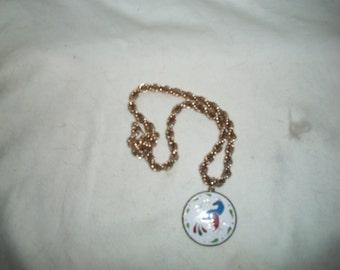 Vintage Mid Century Gold Tone Necklace with Enamel Peacock Design Pendant