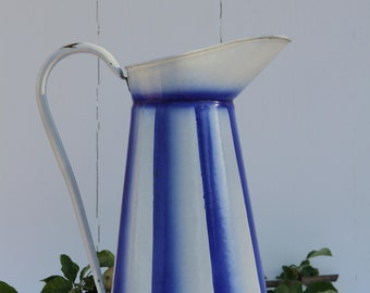 French vintage enamel pitcher - large blue striped