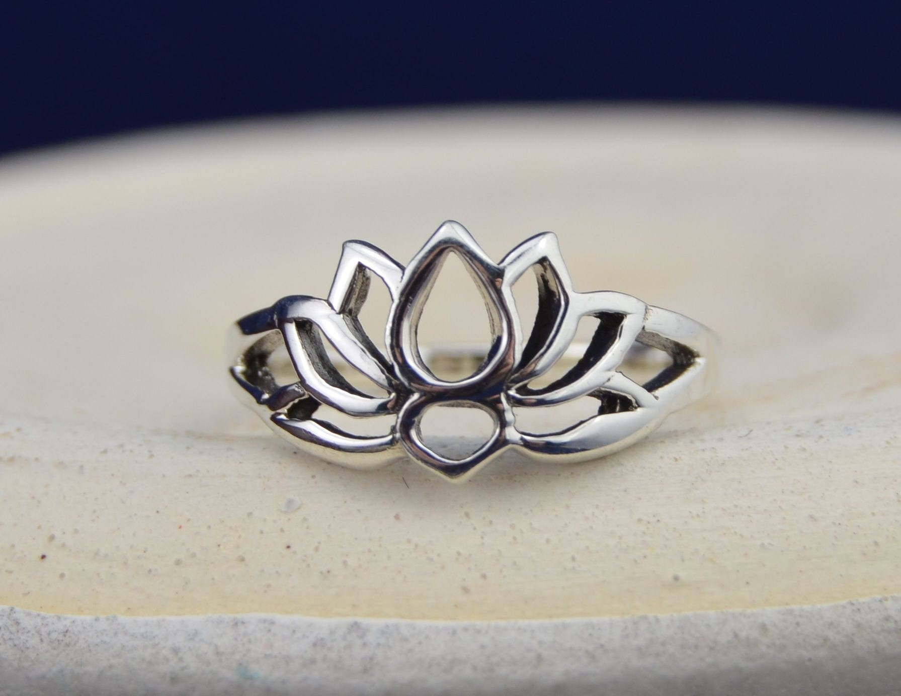 sterling silver lotus flower ring in sizes 3 4 5 6 7 8 9