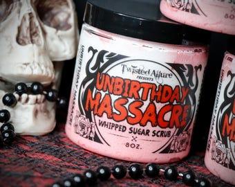 8 oz Whipped Sugar Scrub | Sugar Scrub | UnBirthday Massacre | Strawberry Birthday Cake | Gothic Sugar Scrub | Gothic |