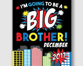 Big Brother Announcement Sign, Big Brother Sign, Printable Big Brother Announcement Sign, Superhero Big Brother, Print at Home Sign, Big Bro