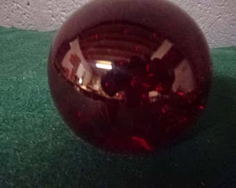 Vintage Bubble Glass Paperweight/Ruby Red/Vintage/1980s