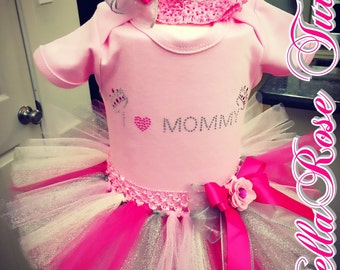 Pink and silver tutu with custom onesie and matching headband