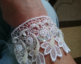 Lace and beaded bridal cuff