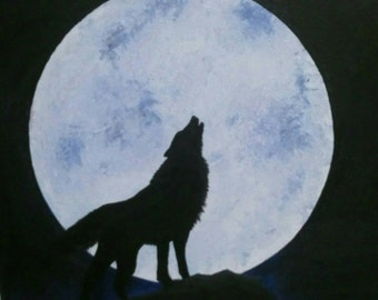 Wolf and moon painting