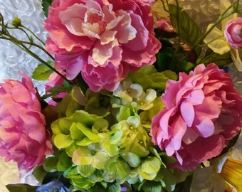 Pretty Spring Bouquet in A Charming Decoupage Vase.