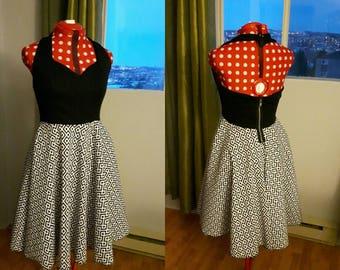 Black and white retro halter top dress
