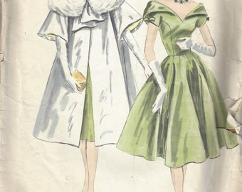 1959 Vintage VOGUE Sewing Pattern B36 ONE-PIECE Dress & Coat (1767)